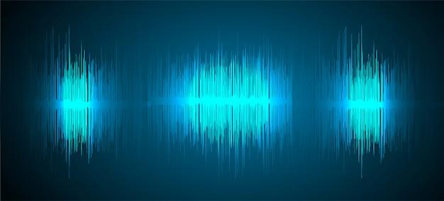 Onde sonore che oscillano sullo sfondo di luce blu scuro