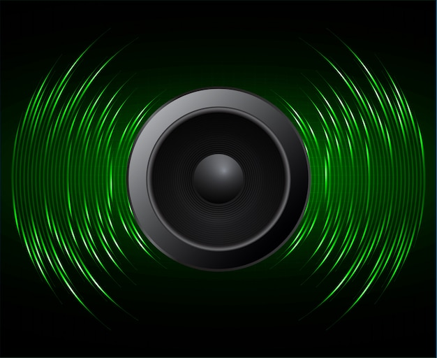 Onde sonore dell'altoparlante che oscilla con luce verde scuro