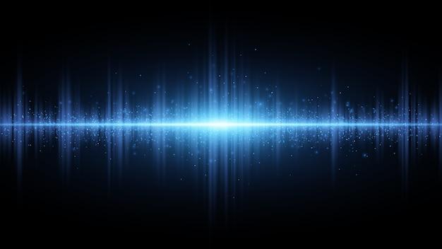 Onde sonore di luce blu su uno sfondo scuro. effetto luce.