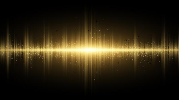 Onde sonore di luce dorata su uno sfondo scuro. effetto luce.