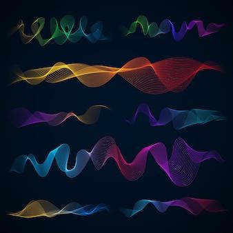 Onde sonore luminose 3d, insieme di vettore di effetto di energia