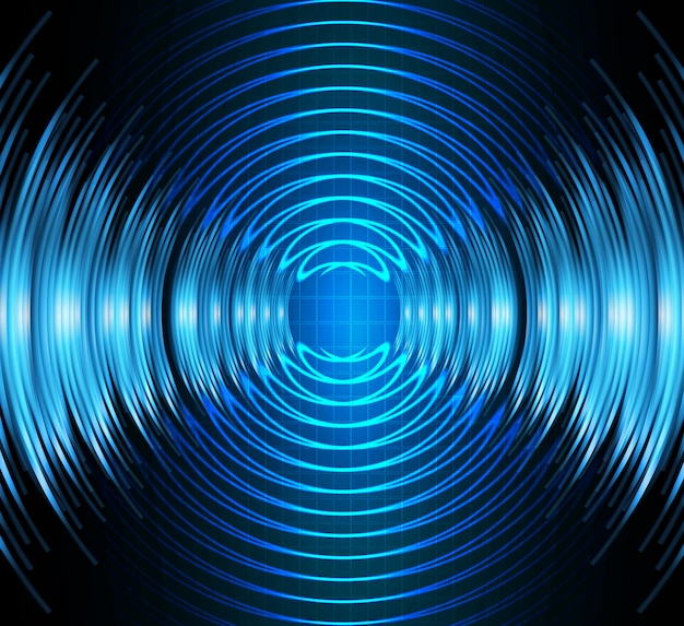 Onde sonore oscillanti luce blu scuro, onda d'acqua