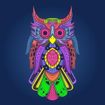 Opera d'arte colorata gufo