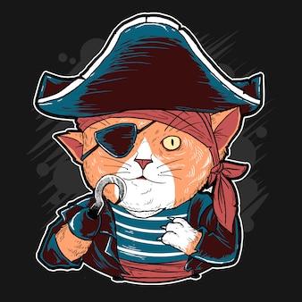 Opera d'arte di vettore sveglio dei pirati del gatto