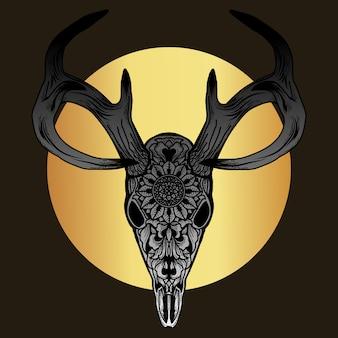Opera d'arte e maglietta design premium ornamento di teschio di cervo