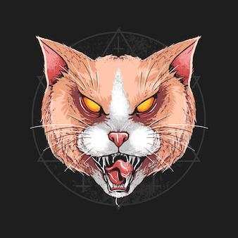 Opera dettagliata della testa di angry del gatto