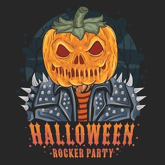 Opera di halloween del rocker della testa di zucca