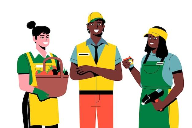Operai del supermercato nella raccolta uniforme