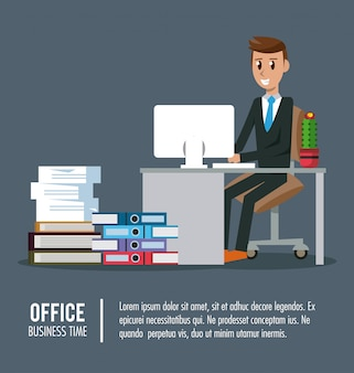 Operai di affari in informazioni di banner di ufficio
