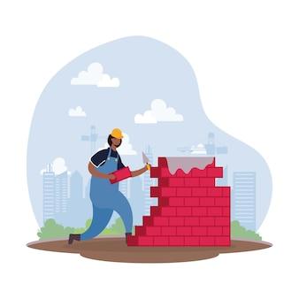 Operaio costruttore afro con disegno di illustrazione vettoriale di scena di carattere muro di mattoni