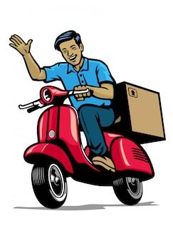 Operaio di corriere consegna sorridente mentre si guida scooter d'epoca