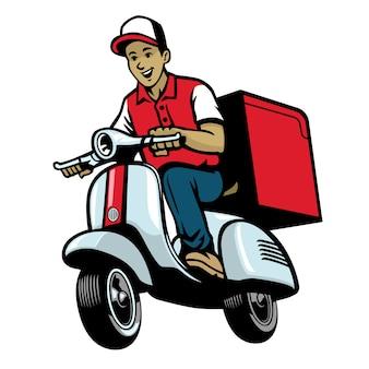 Operaio di servizio dalivery in sella a scooter d'epoca