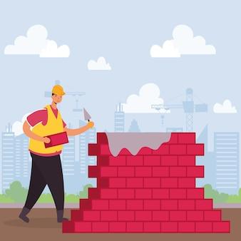 Operaio edile con disegno di illustrazione vettoriale di scena di caratteri di muro di mattoni