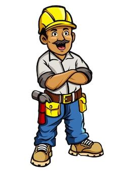 Operaio edile di cartone animato in braccio attraversato posa