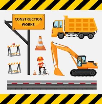 Operaio edile e camion nel sito