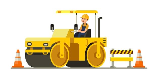 Operaio edile stradale con attrezzature pesanti compattatore a rulli