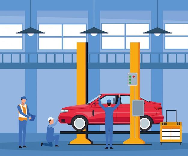 Operaio sulla fabbrica di automobili