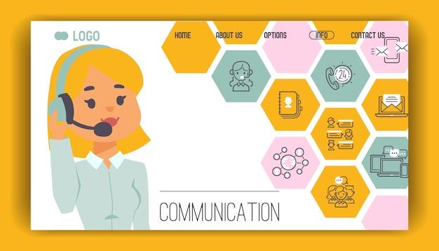 Operatore della gente della pagina web del modello della call center nel funzionamento del carattere della donna dell'uomo della cuffia avricolare