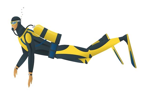 Operatore subacqueo di scuba su priorità bassa bianca