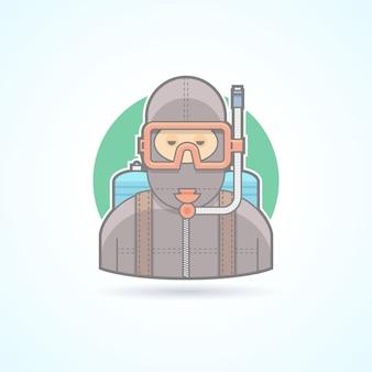 Operatore subacqueo, uomo di immersioni subacquee con l'icona di aqualung. illustrazione di avatar e persona. stile delineato colorato.