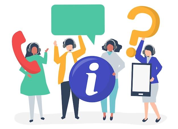 Operatori di call center che trasportano icone di comunicazione