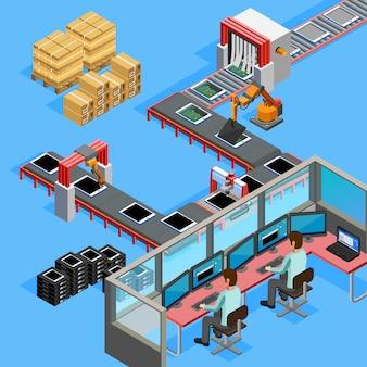 Operatori linea di produzione di trasportatori isometrici