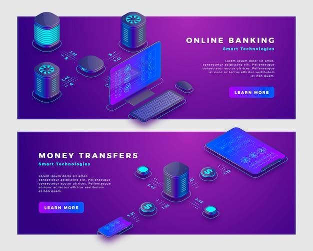 Operazione di trasferimento di denaro e concetto di banking online.