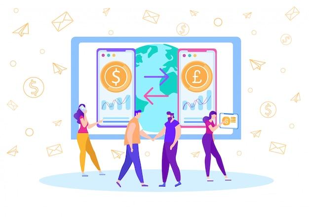 Operazione online di cambio valuta globale