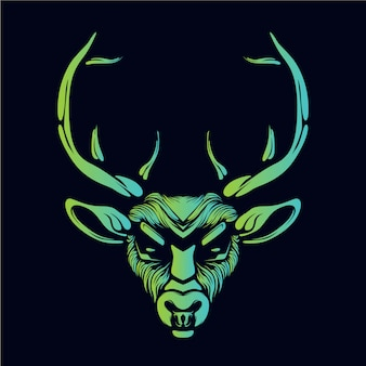 Opere d'arte testa di renna incandescente verde