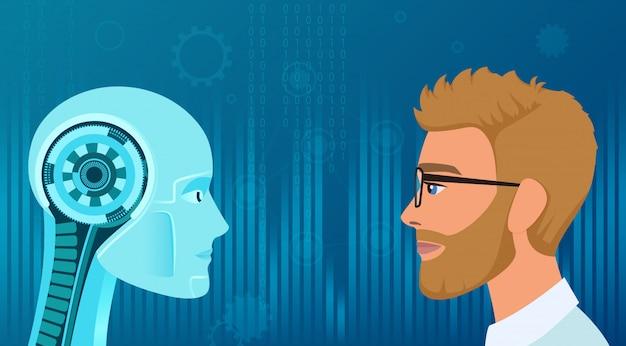 Opposizione tra umani e robot. affare di concetto e illustrazione futura di lavoro