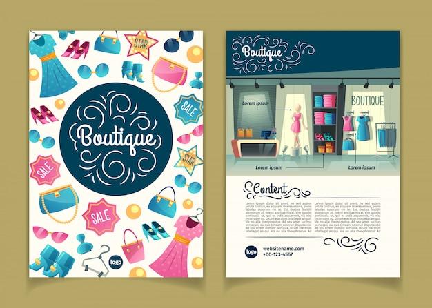 Opuscoli con ragazze boutique, negozio di abbigliamento femminile. libretto con armadio con vestiti