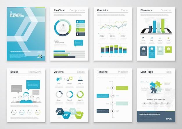 Opuscoli e brochure di infografica e vettori web template
