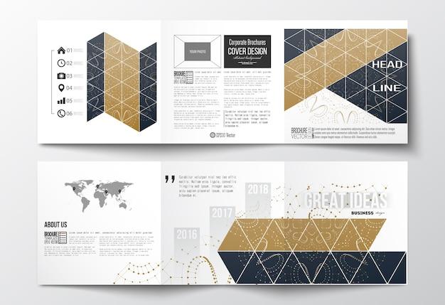 Opuscoli ripiegabili, modelli di design quadrati.