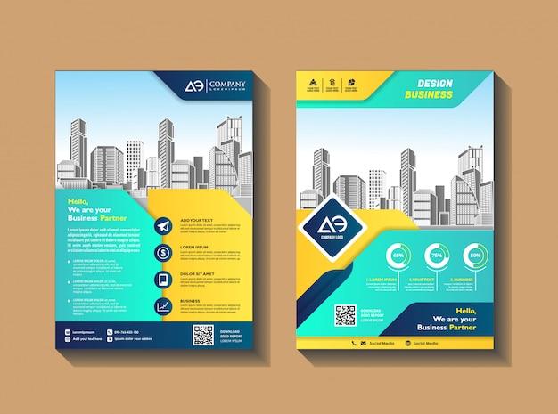 Opuscoli volantini modello di progettazione profilo aziendale poster della rivista relazione annuale libro e copertina del libretto