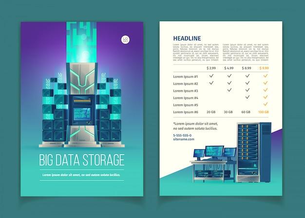 Opuscolo con apparecchiature server per l'elaborazione e l'archiviazione dei dati, servizi cloud, database