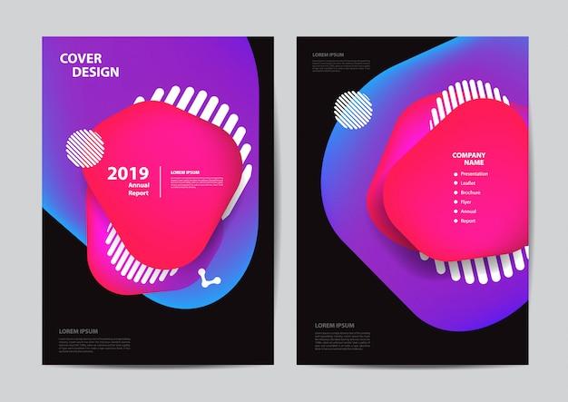 Opuscolo con opuscoli di poster volantino coprire bolle geometriche