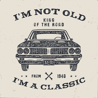 Opuscolo del regalo di anniversario di 70 compleanno. non sono vecchio, sono un classico, parole del re della strada con auto d'epoca.