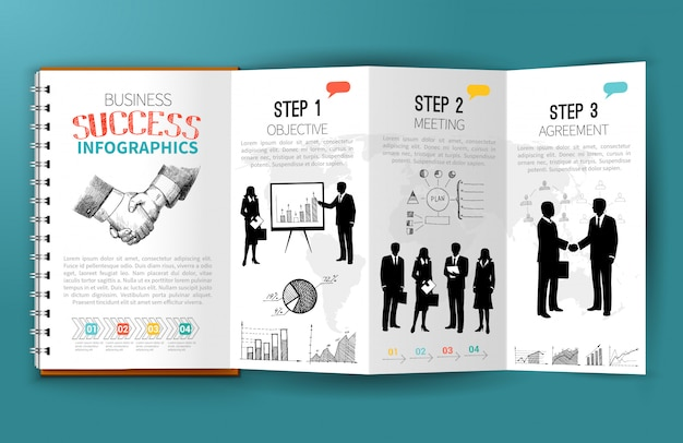 Opuscolo di infografica di affari