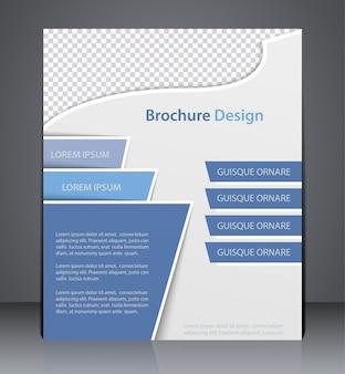 Opuscolo, modello di progettazione volantino, web o copertina di una rivista con colori blu