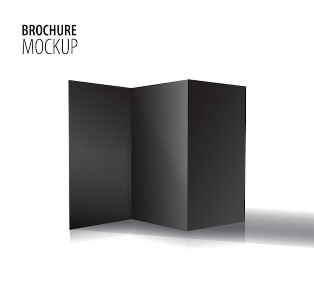Opuscolo nero in carta ripiegabile in bianco isolato su bianco.