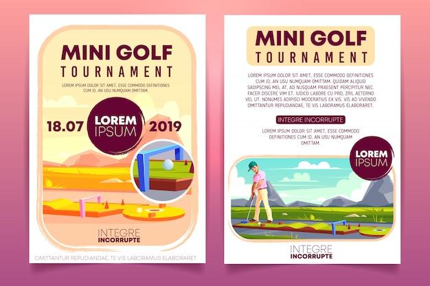 Opuscolo promozionale di fumetto di torneo di mini golf, modello di volantino di invito.