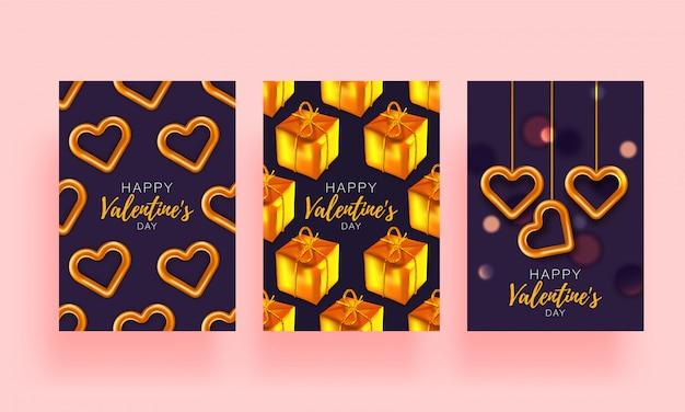 Opuscolo stabilito del fondo di amore. carta regalo poster. modello della bandiera di vendita per san valentino. banner con cuori e regali.