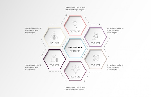 Opzione 6 esagono infografica o passaggi e sfondo del mondo. concetto di colore viola.