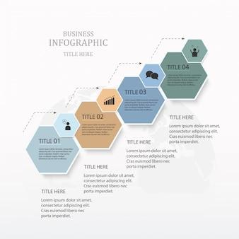 Opzione di esagono 4 infografica o passaggi e icone per il concetto di business.