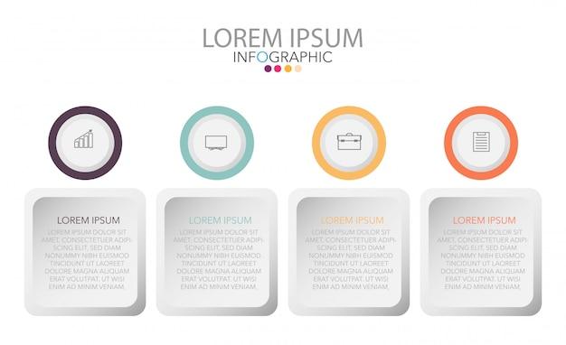 Opzione infographic o stile di stile quattro del cerchio del modello di affari per la presentazione