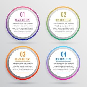 Opzioni circolari per infografica con quattro passi