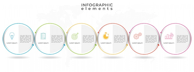 Opzioni del modello 6 infografica timeline cerchio.