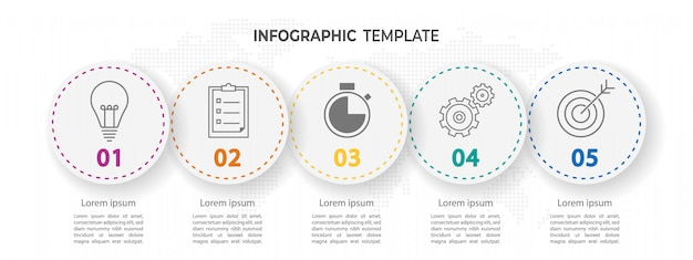 Opzioni di infographic moderno cerchio 5 timeline