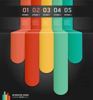 Opzioni di numero infografica colorate banner e carta.