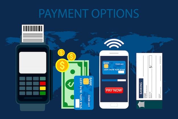 Opzioni di pagamento. concetto in stile piano, illustrazione.